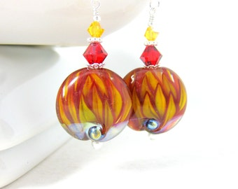 Red Yellow Flower Earrings, Flame Earrings, Botanical Earrings, Nature Earrings, Lampwork Earrings, Glass Dangle Earrings, Fire Earrings