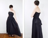 1950s Black Strapless Gown with Bustle - M