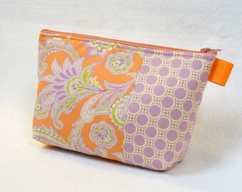 Clearance SALE Paisley Fabric Large Cosmetic Bag Zipper Pouch Padded Makeup Bag Cotton Amy Butler Gypsy Caravan Mothers Day Peach Lavender