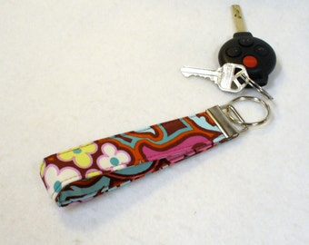 Wristlet Key Fob Amy Butler Floral Fabric Keyring Keychain Disco Flower Chocolate Soul Blossoms Handmade MTO