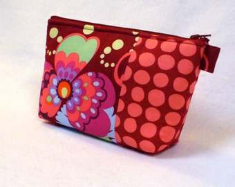 Paradise Garden Wine Amy Butler Fabric Large Cosmetic Bag Zipper Pouch Padded Makeup Bag Cotton Zip Pouch Mod Floral Pouch MTO