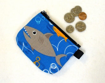 Boys Mini Coin Purse Sharks Fish Mini Coin Purse Little Zipper Change Purse Ocean Life Handmade MTO