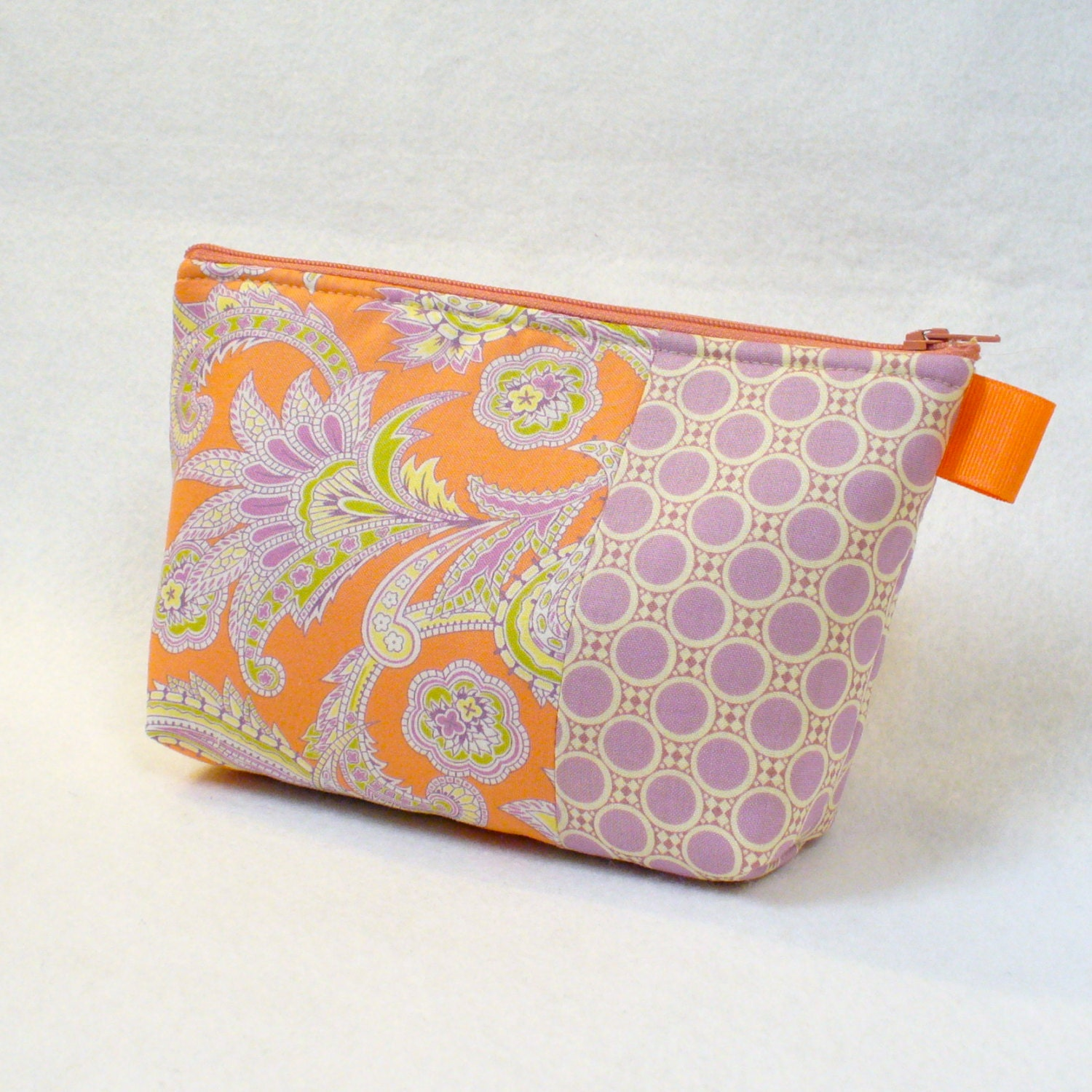 Clearance SALE Paisley Fabric Large Cosmetic Bag Zipper Pouch