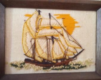Vintage Sail boat Schooner ~ Embroidered ~ Framed Embroidery ~ Beach Cottage House ~