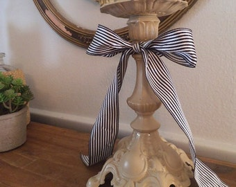 upcycled French Country Candle Holder ~ Taupe with French Ribbon ~ Ornate