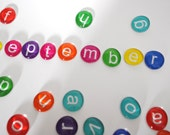 LARGE lowercase LETTERS - colorful calendar magnet or push pin set -you choose your own COLOR - 2016 perpetual calendar, back to school