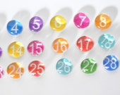 20 percent off- SMALL - 31 number magnet or push pin set, 2015 perpetual calendar, back to school, organize, teacher