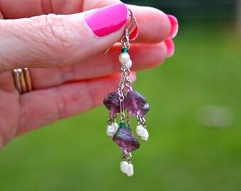 Sterling Silver pearl Dangle Earrings 10
