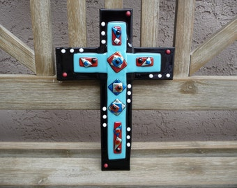 Large Fused Dichroic Glass Cross Black and Turquoise