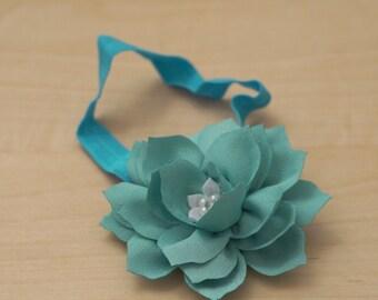 Teal Lotus Flower Headband - with Pearl and Rhinestones