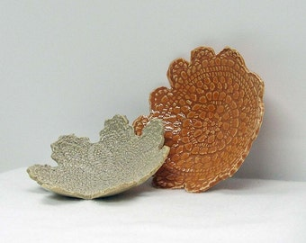 Doily Imprinted Handbuilt Soap Dishes or Candleholders