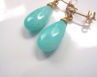Blue Peruvian Amazonite Drop Earrings with Gold Components