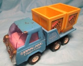 "Vintage Buddy L Pan Am Clipper Cargo Blue Pressed Steel Truck 5 1/4"" Japan retro toy truck mid century electrician power company"
