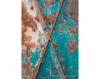 Teal and Rust, 5x7 Print, Abstract Photography, Abandoned Building Photography, Abstract Art, Queens, NYC Photography, Fort Totten, Teal Art