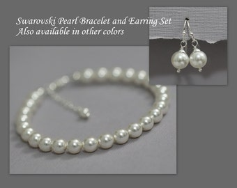 White Pearl Bracelet, Bridesmaid Gift, Swarovski Bracelet and Earring Set Bridesmaid Bracelet and Earring Set, Wedding Bracelet and Earring
