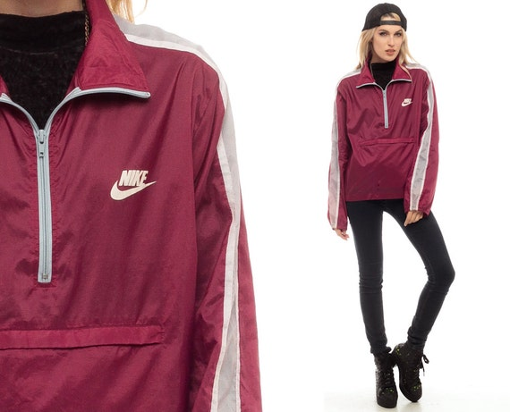 Nike Jacket 80s Windbreaker Jacket Half Zip Striped Nylon