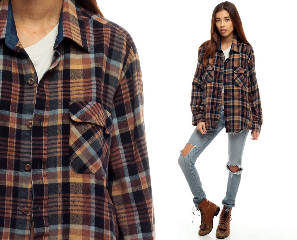 plaid flannel shirt button up 90s grunge brown navy blue men