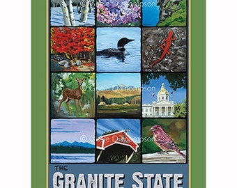 The Granite State NH Poster 8x12 print, icons of NH