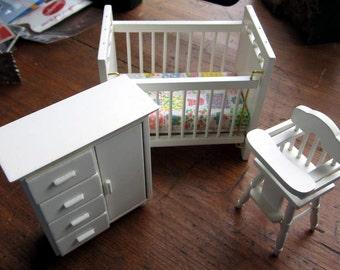 Dollhouse Decor- White Miniature Crib, Dresser, Highchair- Miniatures