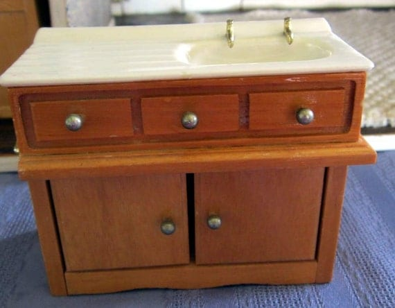 Dollhouse Kitchen Sink and Cabinet. by PendragonFarm on Etsy - photo#8