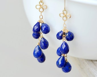 Lapis Lazuli Gold Clover Earrings - Cascade of Briolettes, Hand forged clover, hammered, 14k gold filled wire wrapped, Something Blue