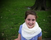 Ivory Scarf, knit cowl, knitted scarf, knit scarf, bow tie scarf, ivory knit scarf, ivory cowl, knitted cowl