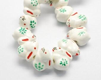 Porcelain Bunny Beads Handmade Famille Rose  (2)