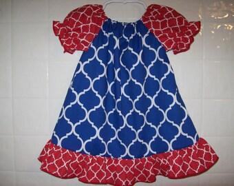 Custom BOUTIQUE Team Spirit Quatrefoil peasant dress