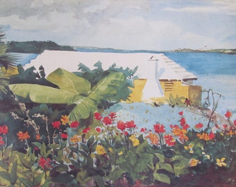 Winslow Homer, Flower Garden and Bungalow, Bermuda, Color Plate Of 1899 Watercolor, Unframed Print