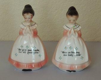 Vtg Praying Ladies Salt and Pepper Shakers by Enesco Japan