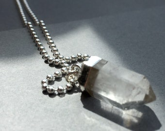 Crystal Quartz point pendant on silver bead chain