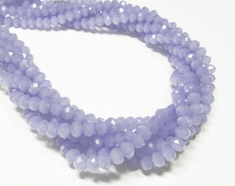 "6.5"" Glass STRAND - Glass Crystal Beads - 4x6mm Faceted Rondelles - Opaque Tanzanite Blue (6.5"" strand - 38 beads) - str1072"