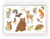 TRAY - Personalized Woodland Forest melamine tray for kids