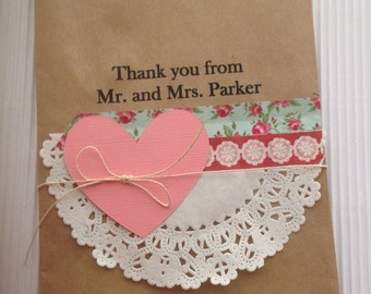 Heart and Doily Favor Bags - Set of 10