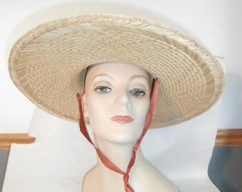 "Womens Wide Brim over 5"" Brim -Ribbon Chin Strap Ties ~ Womens Vintage Hat"