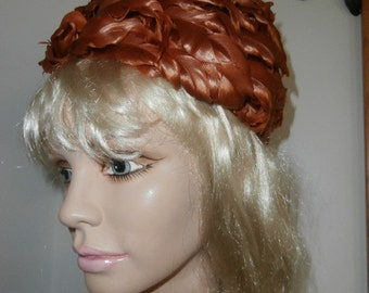 Pillbox Hat Womens Vintage 60's Feather Hat Rare Orange Color ~  Union Made Tag