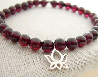 Lotus Bracelet | Garnet Beaded Bracelet | Sterling Silver Bracelet | Loyalty Love Passion | Yoga jewelry | Mala Bracelets | Stack Bracelet
