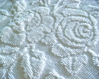 Fieldcrest White Roses Hobnail Vintage Chenille Upcycled Fabric 12 x 24 Inches