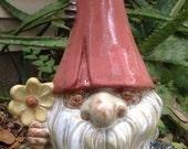 Gnome, flower, caterpillar, stoneware, yard decor, garden decor, hand cast, hand glazed