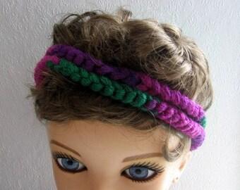 BOHO Band Crochet Hair band, Dread Wrap, Hair Accessory, Hippie Band, Hair Tie ROCKER Headband