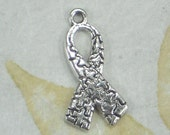 BuLK 50 Autism Puzzle Ribbons Awareness Charms Antique Silver Tone Perfect for Fundraising (P1903 -50)