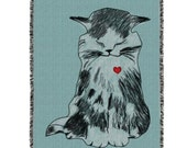 Illustration Cat with Heart Woven Blanket Rug