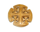 Vintage Wooden Jerusalem Cross Engraved Brooch Religious Jewelry Vintage Brooch Vintage Cross Jewelry Wood Crosses Engraved Cross Wood Cross