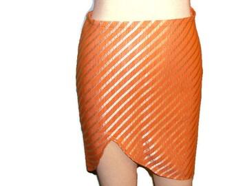 OOAK Light Orange and Cream Stripped Mini Skirt with Front Split Mini Pencil Skirt Thigh Split Skirt Mini Skirts For Women Cotton Skirt