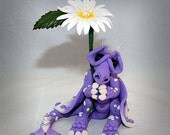 Ooak Polymer Clay Purple Sad Little Dragon With Daisy Collectible Fantasy Art Sculpture CHOOSE Your Own COLORS!