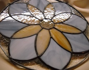 Flower Bloom Stained Glass Sun catcher Handcrafted Glass Art  Blue and Amber Opaque Over 10 Inches Great Gift for Mom