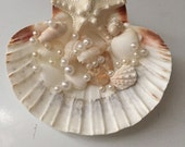 "Ring Bearer ""Starfish Pearls"" Pillow Seashell Beach Destination Wedding Bride Keepsake"