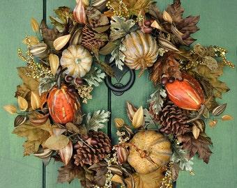 Autumn Elegance - Pumpkin, Gourd and Fall Leaf Wreath, Fall Wreath, Pumpkin Wreath, Autumn Wreath, Harvest Wreath, Thanksgiving Wreath