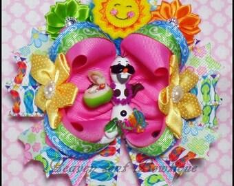 Summer snowman hair bow, Girls Fancy hair bow, Toddler boutique hair bow, Girl hair accessories