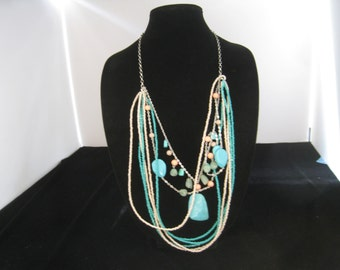 Vintage Chicos Multi Strand Layered Faux Turquoise & Coral Necklace